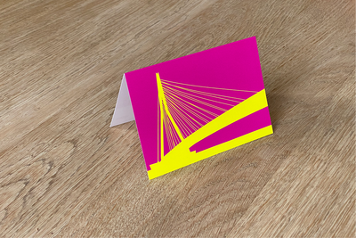 Erasmusbrug - Folded Card (Color) by WUUDY