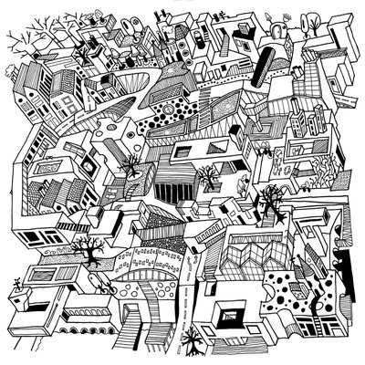 Empty city - black on white (2015), Nora Rittmüller (Art Print)