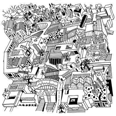 Empty city - black on white (2015), Nora Rittmüller (Art Print)