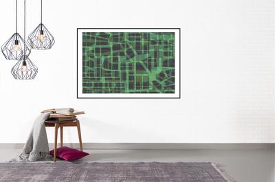 Green Urban Pattern op muur